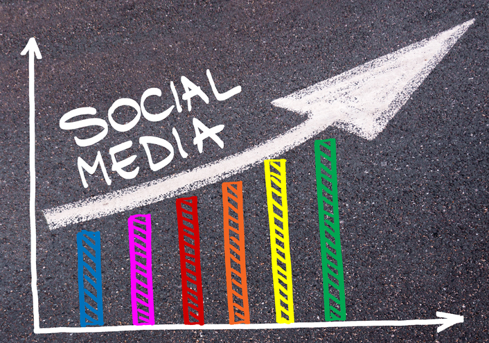Colorful graph drawn over tarmac and words SOCIAL MEDIA with directional arrow, business design concept